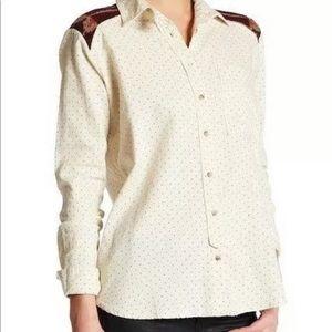 Free People Ivory Polka Dot Button Down Shirt XS
